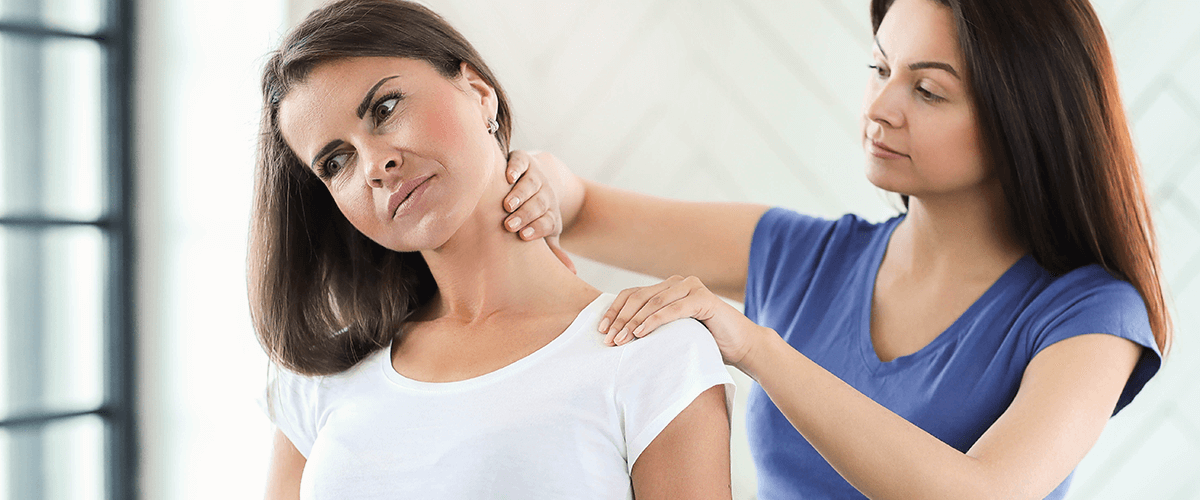 woman's neck pain relieved